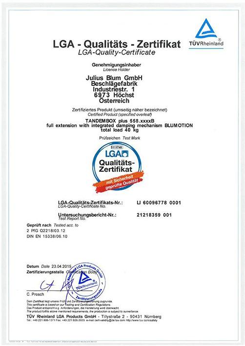 Zertifikate   INTEDOOR, Badmöbelhersteller